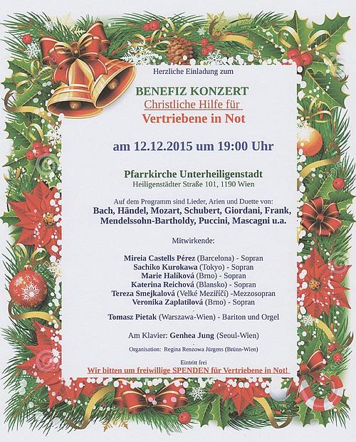 Benefiz Konzert am 12.Dez.2015 (Pfarrkirche Unterheiligenstadt Wien)